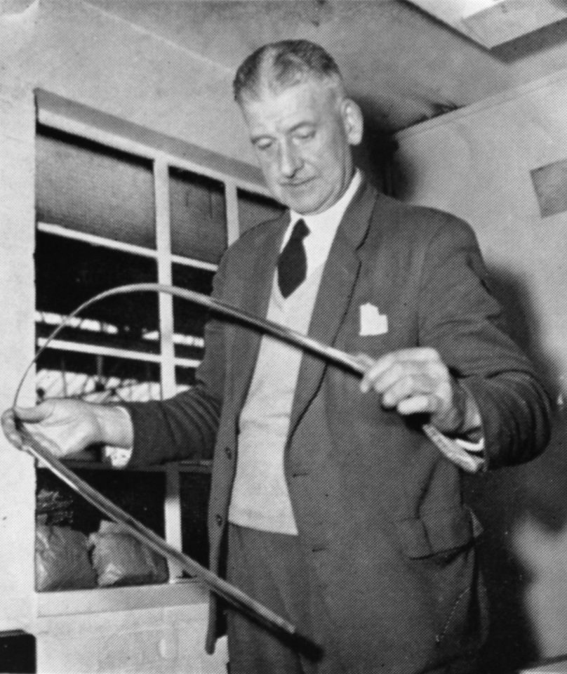 Chief Inspector Arthur Johnson checks a component for the motor industry, 1961. He began at Accles & Pollock in 1926, his first job cutting off on a bandsaw.