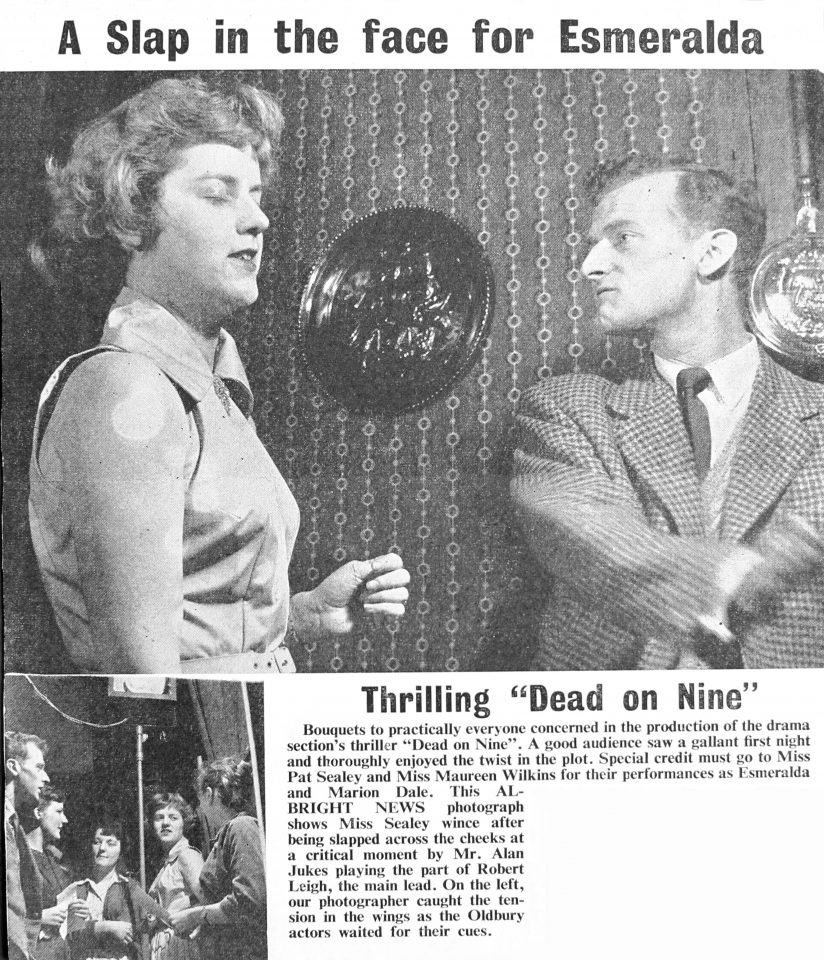 Press cutting for 'Dead on Nine', performed by A&W Dramatic Section, 1959.