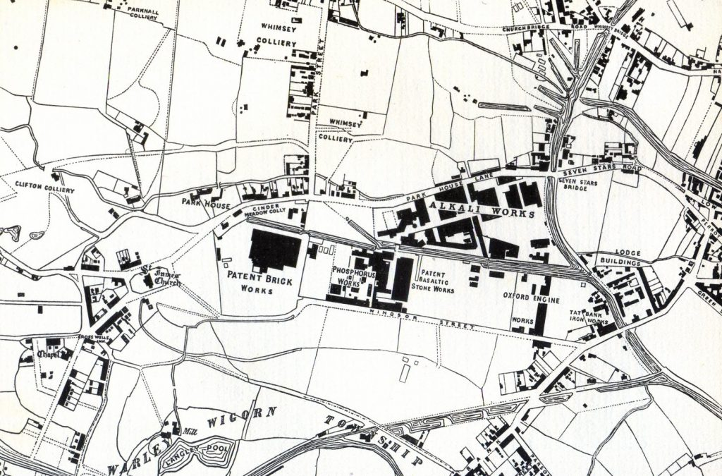 Map of Oldbury, 1857, showing the alkali works of Chance and Hunt.