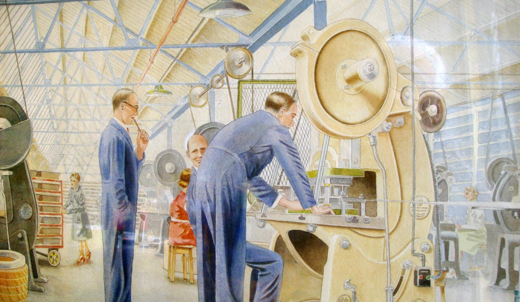 'A Problem in the Cutting Room', a watercolour by H. Neal, dating from the 1950s, used to hang in the foreman's office at Myers in Langley Green. (Left to right, Harold Jenkins, Frank Cornock and Bill Forge.)